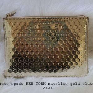 kate spade NEW YORK matellic gold clutch case bag